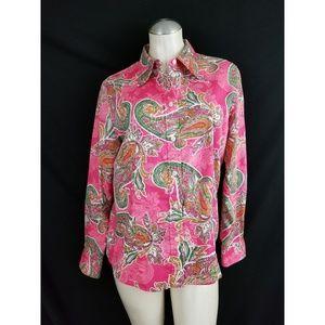 Jones New York Size L Pink Button Down Shirt